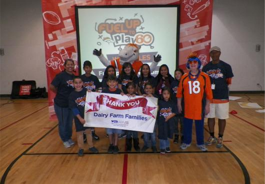 HOPE with Broncos Miles the Mascot celebrating Fuel Up to Play 60 Grant