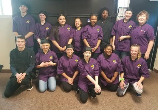 HOPE students who completed a culinary class in the spring of 2019