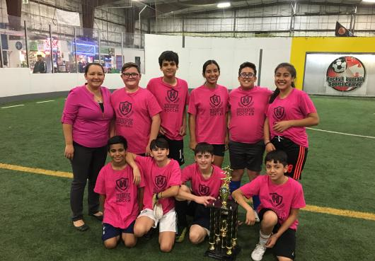 Team photo of the HOPE team who won middle school soccer 2018