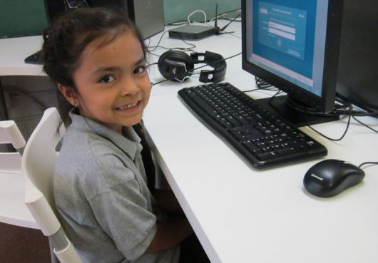 HOPE student on computer