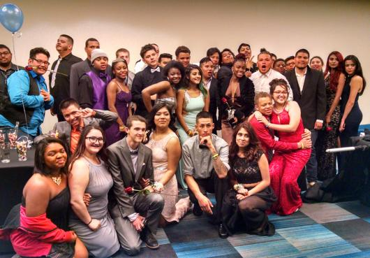Group photo of students at the end of Prom 2017
